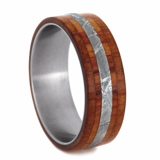 TITANIUM WEDDING BAND WITH METEORITE AND TULIPWOOD-2215 - Cairo Men's Wedding Rings