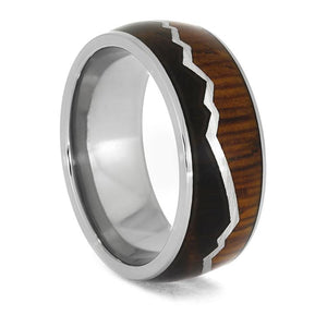 TITANIUM MOUNTAIN RING WITH CHERRY BURL AND COCOBOLO WOOD-3950 - Cairo Men's Wedding Rings
