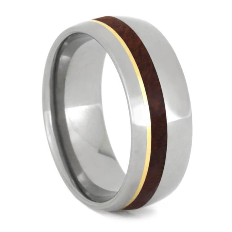 TITANIUM RING WITH AMBOYNA WOOD AND YELLOW GOLD-1208 - Cairo Men's Wedding Rings