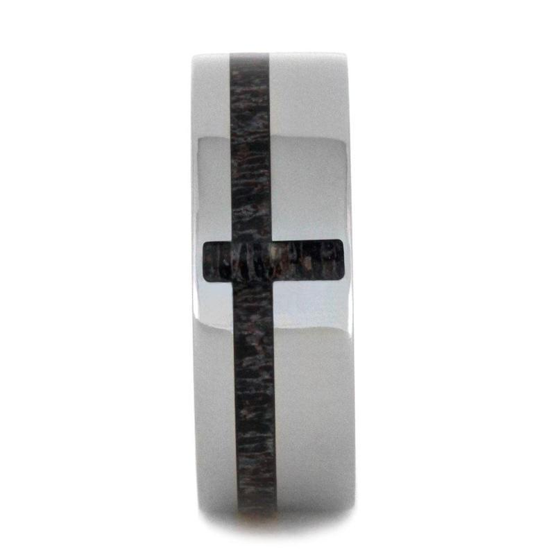 TITANIUM RING WITH DEER ANTLER CROSS DESIGN-2869 - Cairo Men's Wedding Rings