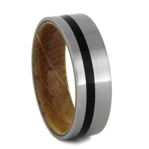TITANIUM RING WITH BLACK ENAMEL AND BARREL WOOD-2874 - Cairo Men's Wedding Rings