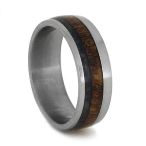 TITANIUM RING WITH BLUE SEA GLASS AND MESQUITE WOOD-1910 - Cairo Men's Wedding Rings