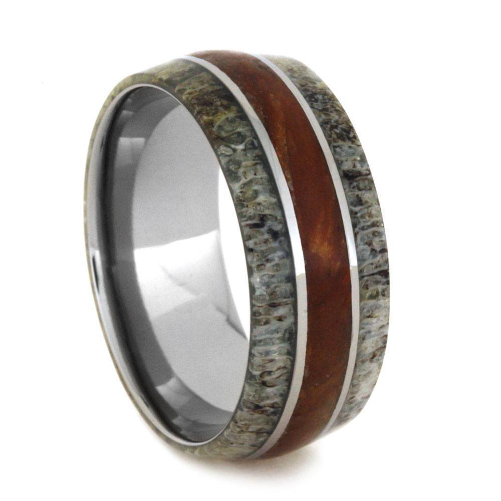 TITANIUM RING WITH ANTLER AND PETRIFIED WOOD-2927 - Cairo Men's Wedding Rings