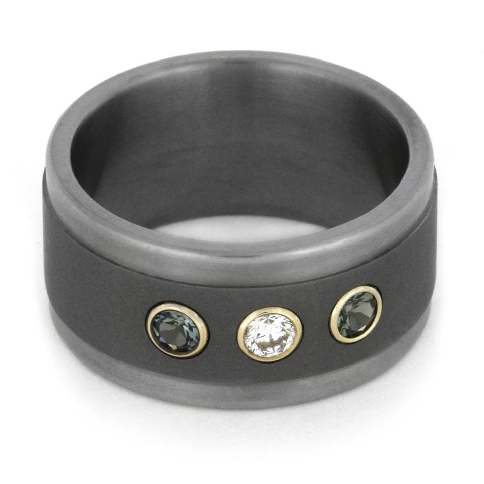 TITANIUM RING WITH DIAMOND AND BLUE SAPPHIRES IN YELLOW GOLD-1814 - Cairo Men's Wedding Rings