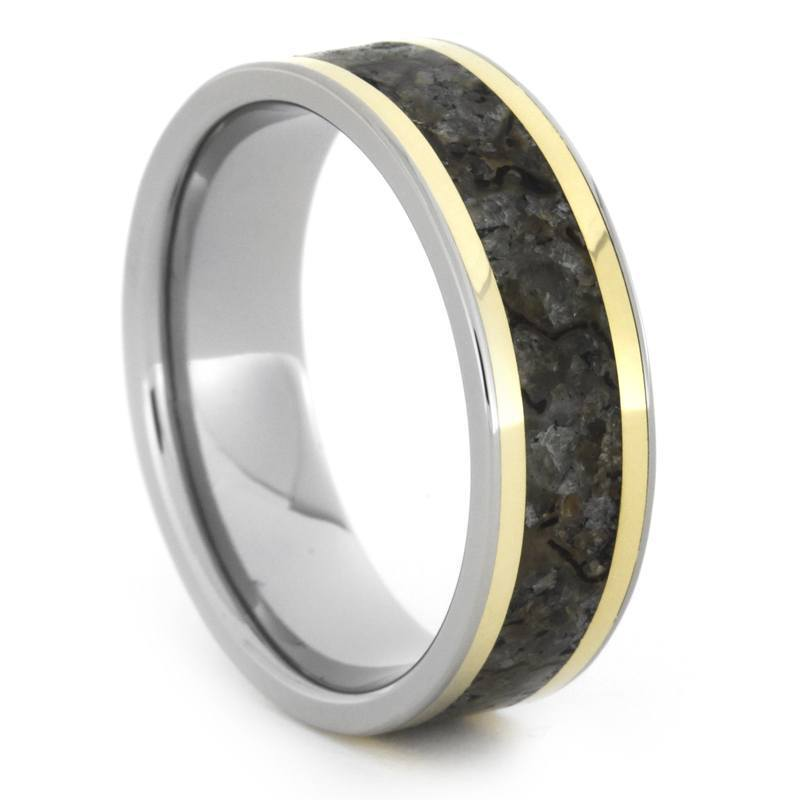 TITANIUM RING WITH DINOSAUR BONE AND YELLOW GOLD-1614 - Cairo Men's Wedding Rings