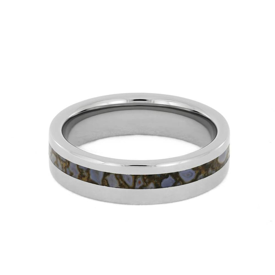 TITANIUM RING WITH DINOSAUR BONE-1731 - Cairo Men's Wedding Rings