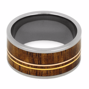 TITANIUM RING WITH KOA WOOD AND GOLD-2148 - Cairo Men's Wedding Rings