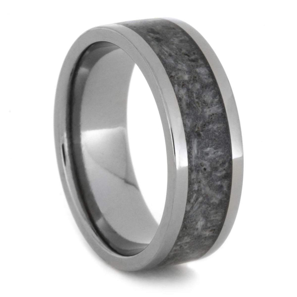 TITANIUM RING WITH LIGHT DEER ANTLER-1811 - Cairo Men's Wedding Rings