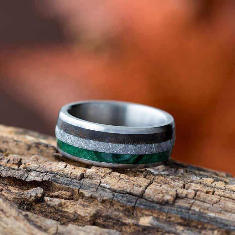 TITANIUM METEORITE DINOSAUR BONE AND GREEN WOOD WEDDING BAND-3190 - Cairo Men's Wedding Rings