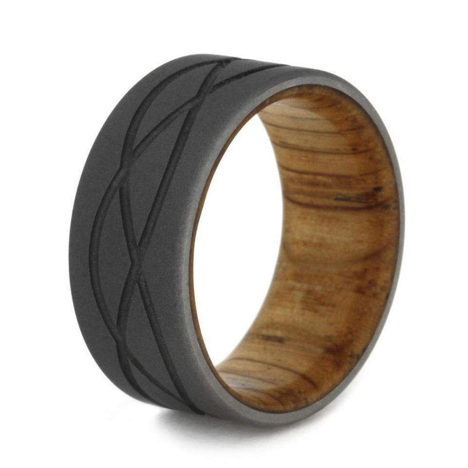 TITANIUM RING WITH TRI WAVE DESIGN AND OAK WOOD-1916 - Cairo Men's Wedding Rings