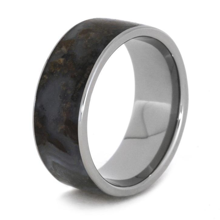TITANIUM RING WITH PETRIFIED WOOD-1897 - Cairo Men's Wedding Rings