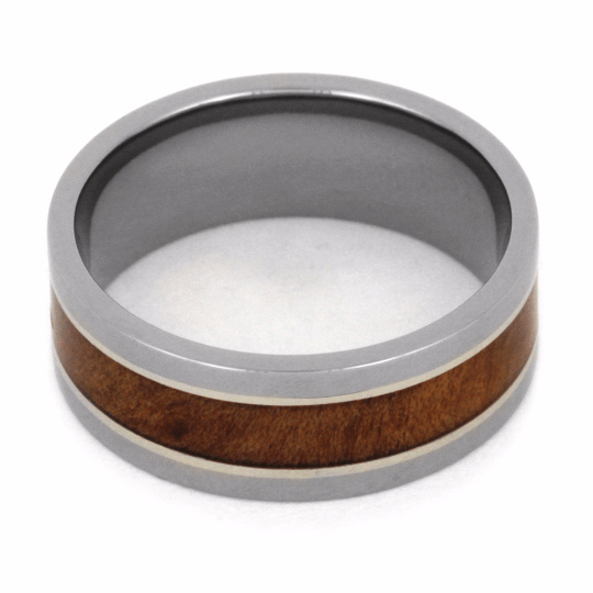 TITANIUM RING WITH NATURAL REDWOOD-2050 - Cairo Men's Wedding Rings