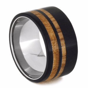TITANIUM RING WITH OAK WOOD AND BLACKWOOD-2095 - Cairo Men's Wedding Rings
