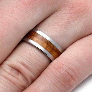 TITANIUM RING WITH TEAK BURL WOOD-2879 - Cairo Men's Wedding Rings