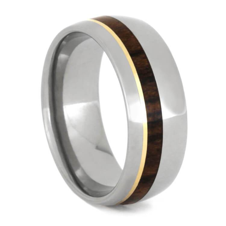 TITANIUM RING WITH IRONWOOD AND YELLOW GOLD-2324 - Cairo Men's Wedding Rings