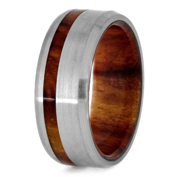TITANIUM RING WITH TULIPWOOD SLEEVE-2769 - Cairo Men's Wedding Rings