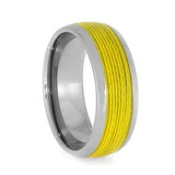 TITANIUM RING WITH YELLOW FISHING LINE-3942 - Cairo Men's Wedding Rings