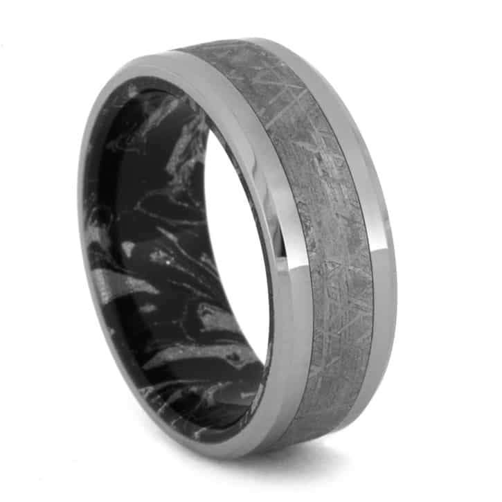 TITANIUM WEDDING BAND WITH GIBEON METEORITE AND MOKUME-1553 - Cairo Men's Wedding Rings