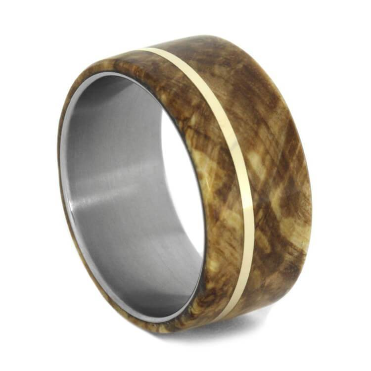 TITANIUM WEDDING BAND WITH BLACK ASH BURL-1154 - Cairo Men's Wedding Rings