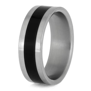 TITANIUM WEDDING BAND WITH BLACK ENAMEL-1395 - Cairo Men's Wedding Rings