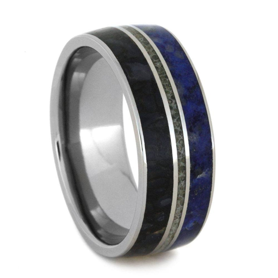 TITANIUM WEDDING BAND WITH ANTLER, DINOSAUR BONE AND LAPIS-2936 - Cairo Men's Wedding Rings