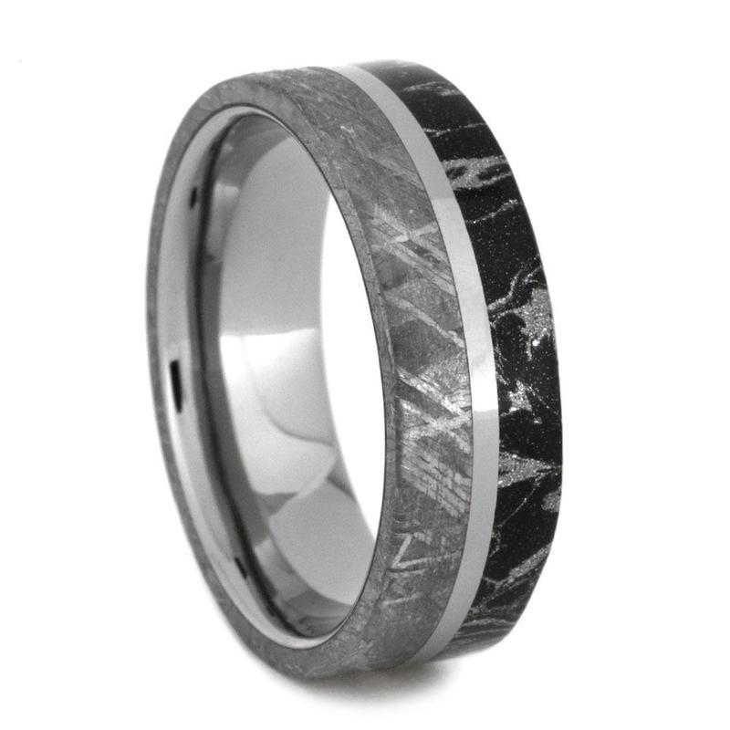 TITANIUM WEDDING BAND WITH MOKUME AND METEORITE-2867 - Cairo Men's Wedding Rings
