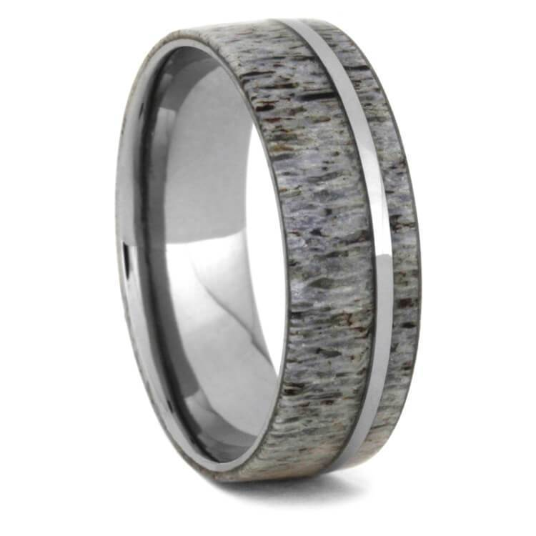 TITANIUM WEDDING BAND WITH DEER ANTLER-3149 - Cairo Men's Wedding Rings