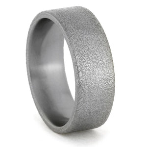 FROSTED TITANIUM WEDDING BAND WITH FLAT PROFILE-1421 - Cairo Men's Wedding Rings