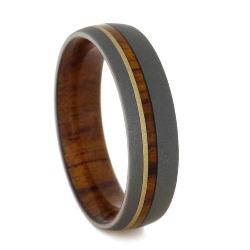 TITANIUM WEDDING BAND WITH IRONWOOD AND YELLOW GOLD-3166 - Cairo Men's Wedding Rings