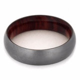 TITANIUM WEDDING BAND WITH TULIPWOOD-2184 - Cairo Men's Wedding Rings