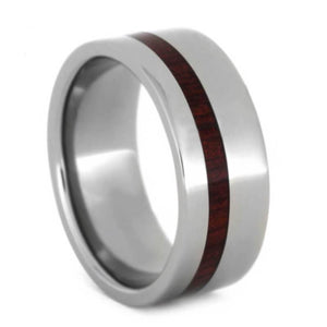 TITANIUM WEDDING RING WITH BLOODWOOD-1062 - Cairo Men's Wedding Rings