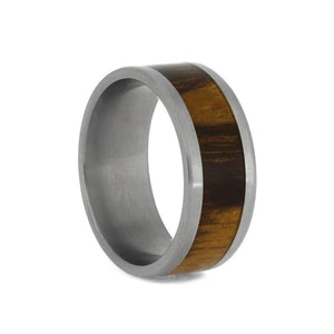 TITANIUM WEDDING RING WITH MARBLE WOOD-1160 - Cairo Men's Wedding Rings