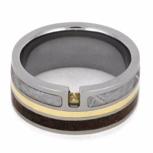 TOPAZ RING WITH METEORITE AND DINOSAUR BONE-2209 - Cairo Men's Wedding Rings