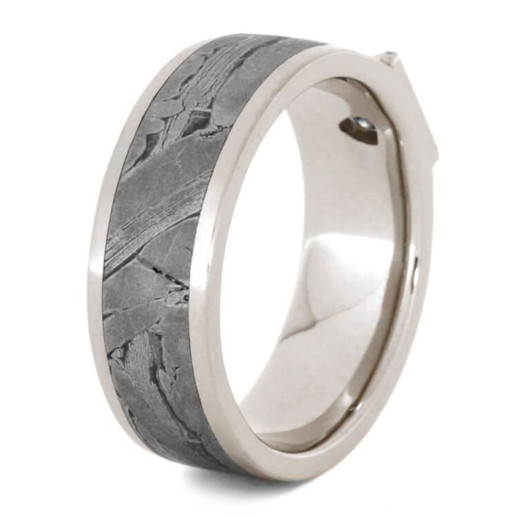 TRIANGLE CUT DIAMOND RING WITH METEORITE-2188 - Cairo Men's Wedding Rings