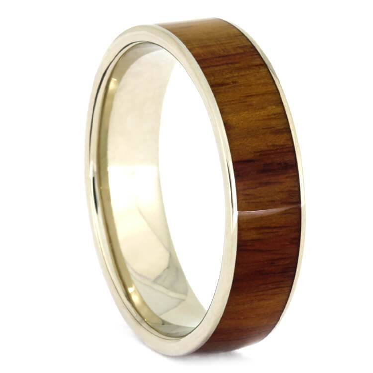 TULIPWOOD WEDDING BAND WITH WHITE GOLD-2381 - Cairo Men's Wedding Rings