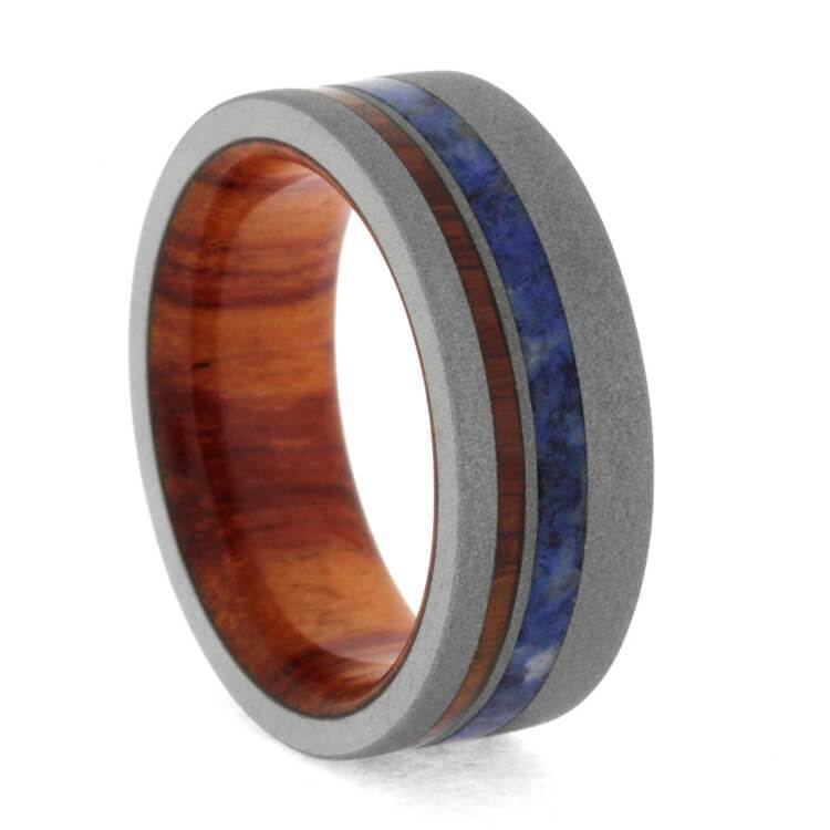 TULIPWOOD WEDDING BAND WITH BLUE BOX ELDER BURL WOOD-3297 - Cairo Men's Wedding Rings