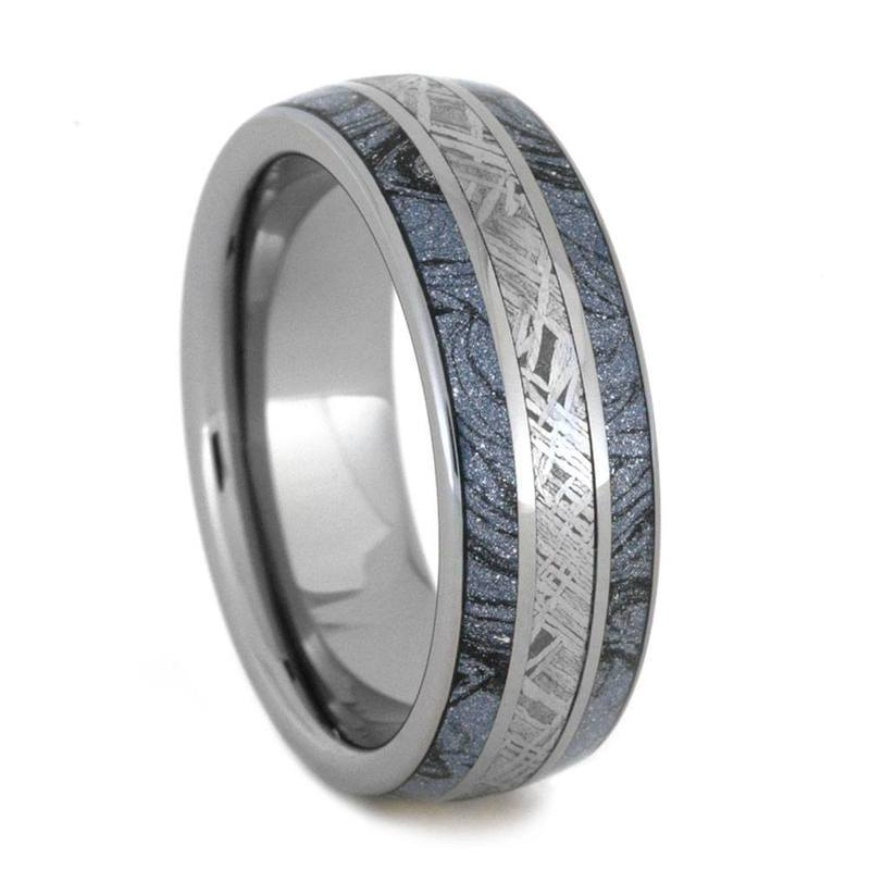 TUNGSTEN RING WITH COBALTIUM MOKUME AND METEORITE-2855 - Cairo Men's Wedding Rings
