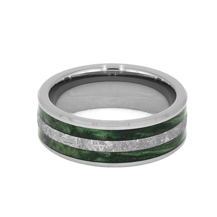 TUNGSTEN WEDDING BAND WITH GREEN BOX ELDER BURL AND METEORITE-3956 - Cairo Men's Wedding Rings