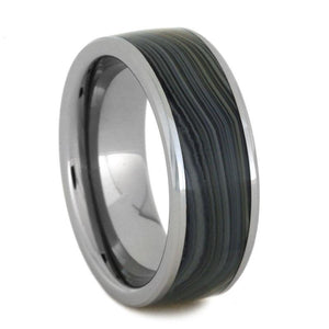 TUNGSTEN RING WITH BLUE AND GREEN AGATE-3150 - Cairo Men's Wedding Rings