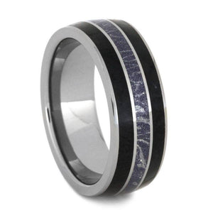TUNGSTEN WEDDING BAND WITH MOKUME GANE AND BLACK JADE-2919 - Cairo Men's Wedding Rings