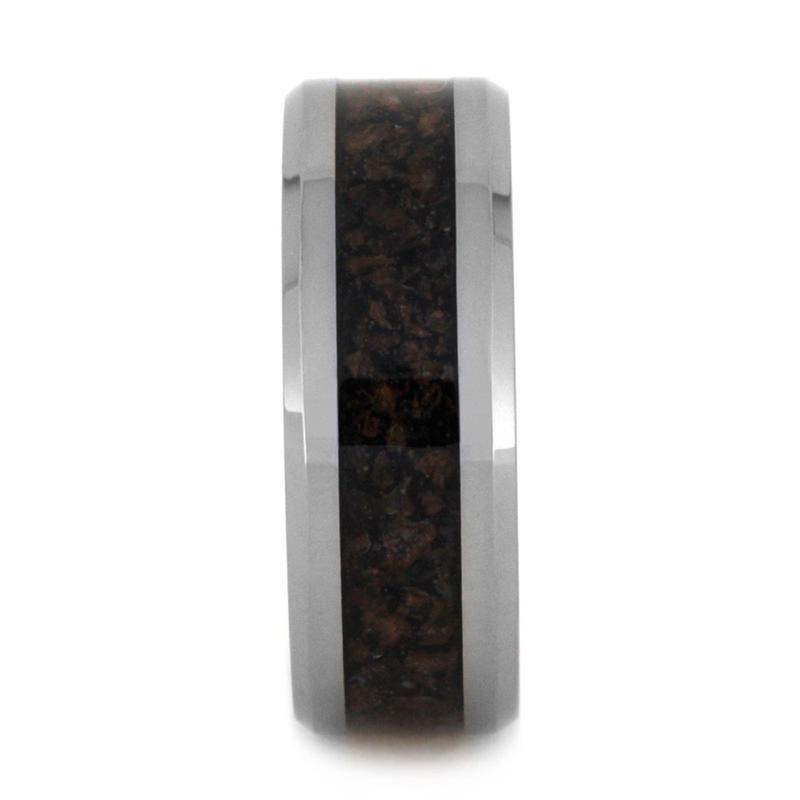 TUNGSTEN BAND WITH CRUSHED DINOSAUR BONE-3152 - Cairo Men's Wedding Rings