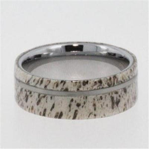 TUNGSTEN WEDDING BAND WITH ANTLER OVERLAY-1350 - Cairo Men's Wedding Rings