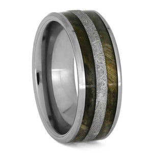 TUNGSTEN RING WITH METEORITE AND BUCKEYE BURL WOOD-3760 - Cairo Men's Wedding Rings