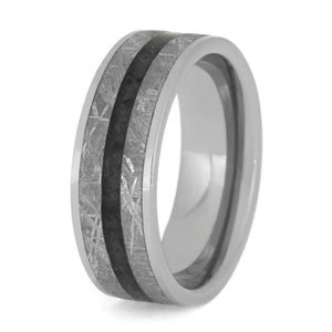 TUNGSTEN RING WITH METEORITE AND ONYX-2738 - Cairo Men's Wedding Rings