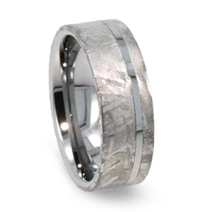 TUNGSTEN WEDDING RING WITH GIBEON METEORITE-1206 - Cairo Men's Wedding Rings