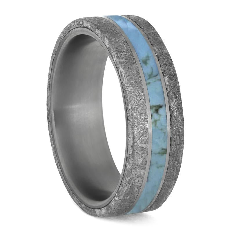 TURQUOISE RING WITH METEORITE EDGES SEPARATED BY TITANIUM-4199 - Cairo Men's Wedding Rings