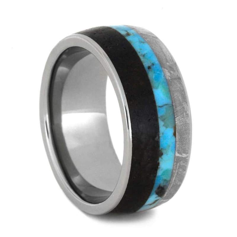 TURQUOISE RING WITH METEORITE AND DINO BONE-3579 - Cairo Men's Wedding Rings