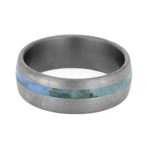 TURQUOISE WEDDING BAND WITH BRUSHED TITANIUM-4223 - Cairo Men's Wedding Rings