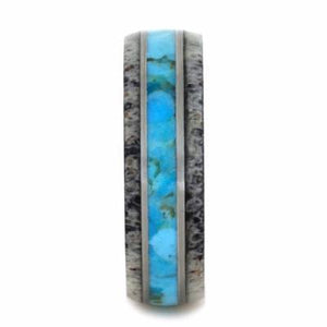 TURQUOISE RING WITH WOOD AND ANTLER-2267 - Cairo Men's Wedding Rings