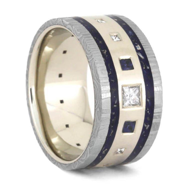 DIAMOND WEDDING RING WITH DAMASCUS AND BLUE SAPPHIRES-2355 - Cairo Men's Wedding Rings